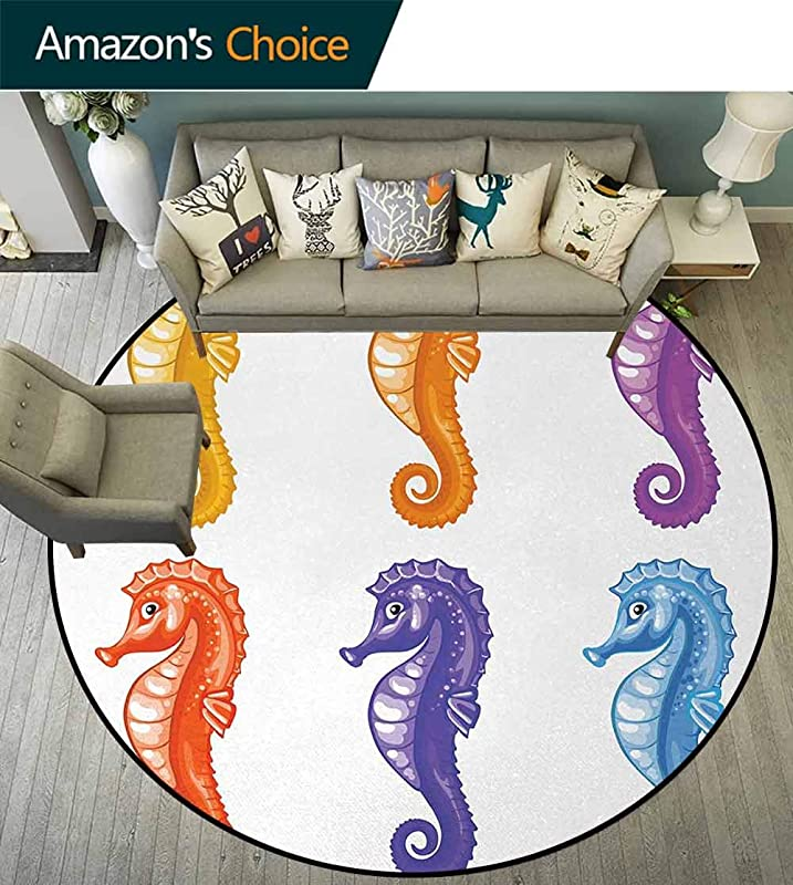 Animal Machine Washable Round Bath Mat Baby Seahorse Diving Swimming Unique Young Happy Mascot Maritime Art Design Print Non Slip No Shedding Bedroom Soft Floor Mat Diameter 59 Inch Multicolor