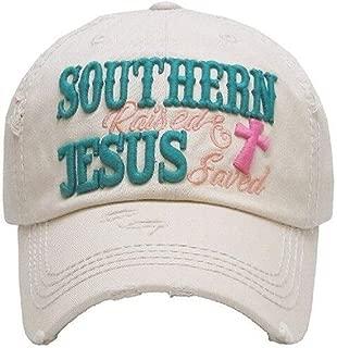 Adjustable Distressed Vintage Western Cap Hat Southern Raised Jesus Saved