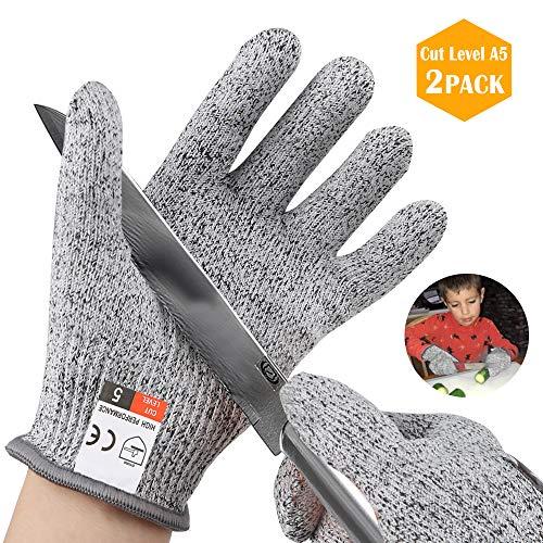 JTENG 2 Paare Schnittschutzhandschuh für Kinder,küchenhandschuhe schnittfest,schnittsichere Handschuhe, lebensmittelecht,höchsten EN388 Level 5 schnittschutz ausgezeichnet,XS für 8-12 Jährige