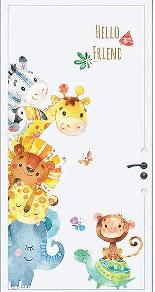 Cartoon Jungle Animals Wall Decals Cartoon Lion Elephant Giraffee Wall Stickers DIY Mural Art Decals For Kids Room Bedroom Home Wardrobe Door Decor Multicolor