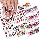 Bad Girl Nail Art Decals Sticker Graffiti Lips Nail Accessories Decorations Nail Stickers for Women Girls Nail Supplies Water Transfer Cool Street Nail Stickers Sexy Lips Cool Girl 9 Sheets