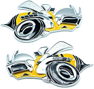 2Pcs Super Bee Yellow Car Emblem Decal Metal 3D Side Fender Auto Badge For Dodge Sticker