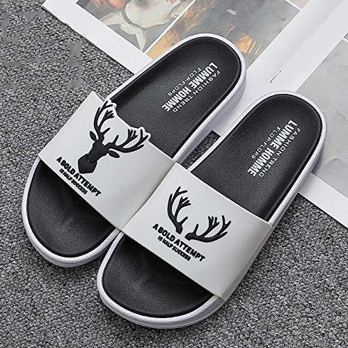 YYFF Zapatos Unisex Adulto,Use Pantuflas Antideslizantes,Sandalias de Suela Gruesa Resistentes al Desgaste-White_36-37,para Hombre Chanclas Slider
