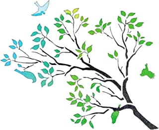 OBUY Tree and Bird Stencil for Painting on Wood, Walls, Fabric, Airbrush, More   Reusable 11.8 x 11.8 inch Mylar Template