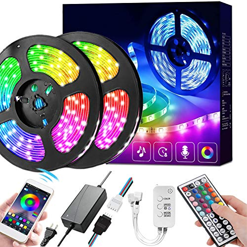 LED Strip Lights 36ft 5050 Music Sync Color Changing RGB LED Lights for Bedroom, Home Decoration (APP Control + Mic + 44Key Remote + 3-Button Switch + Music Sync)