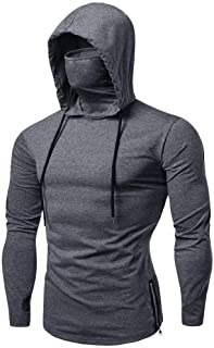 Mens Face_Cover Button Sports Sleeveless/Short/Long Sleeve Vest Hooded Splice Large Open-Forked Male Tank Tops Shirt Blouse