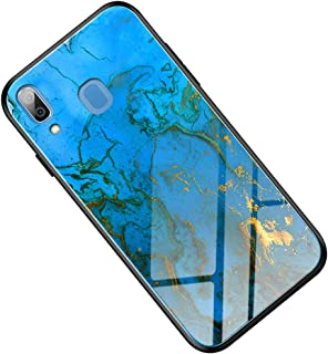 Suhctuptx Compatible for Samsung Galaxy A30/A20 Case Clear Hard Tempered Glass Back Skin Protector Glitter Bling Slim Thin Soft TPU Silicone Bumper Shockproof Protection Cover Girls(Marvel Blue)