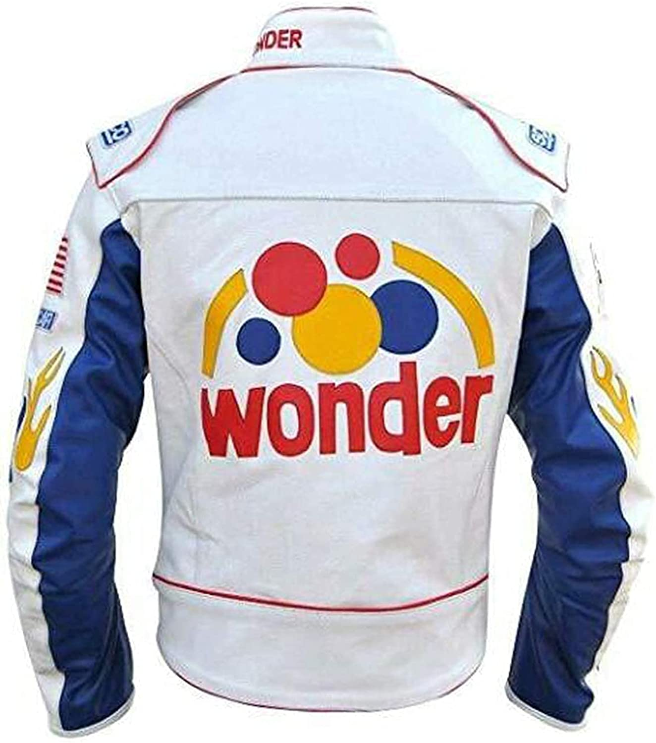 Ricky Bobby Racing Nights Wonder Bread Speed White Faux Leather Motorcycle Jacket