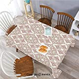 Polyester Washable Table Cover Pastel Colored Complex Tiles with Mathematical Shapes Ancient Persian Art Indoor Outdoor Party Holiday Birthday Home Picnic Decor(60x104 inch) Beige Pink White