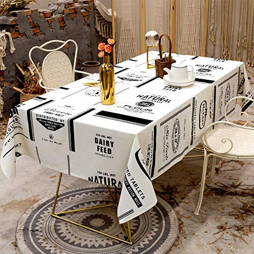zvcv Tablecloths Rectangular Fabric,Cotton Linen Table Cover Waterproof Dust-Proof Jacquard Tablecloth Simple Nordic Style Tablecloth Square Shape And Various Sizes For Dining Kitchen Garden