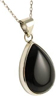 Sterling Silver 925 Natural Black Teardrop Onyx Pendant Necklace 16+2 inches Chain - Elegant Gift Box