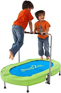 Jump2It Kids Portable 2 Person Mini Trampoline with Adjustable Central Handle and Protective Frame Cover