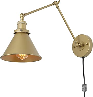 LNC Swing Arm Wall Sconce Lighting Adjustable Gold Plug-in Lamp,1 Pack