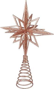 Tomaibaby Décor de Sapin de Noël Scintillant Décor Darbre de Noël en Métal Étoile Or Rose