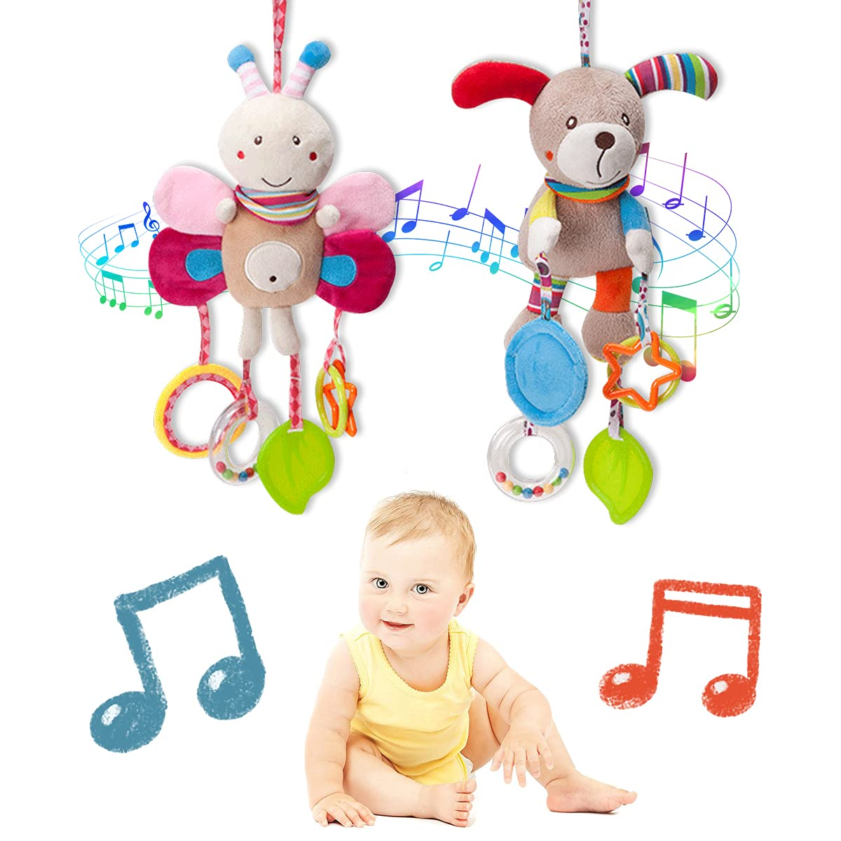 Baby Hanging Rattles Toys,Pull Down Activity Toy,Bed Crib Car Seat Travel Stroller Soft Plush Crinkle Toys for Infant, Baby Rattles Toys with Teether,3, 6, 9, 12 Months Newborn Boys Girls Gifts(2pcs)