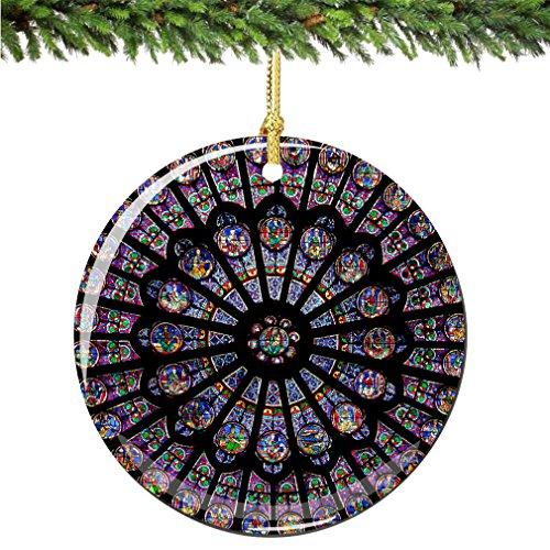 City-Souvenirs Rose Window Christmas Ornament, Porcelain 2.75' Double Sided Notre Dame Cathedral Paris Christmas Ornaments