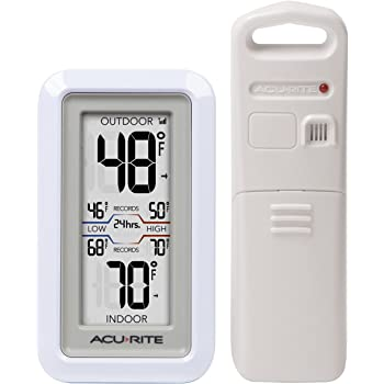 AcuRite 02049 Digital Thermometer with Indoor/Outdoor Temperature,White