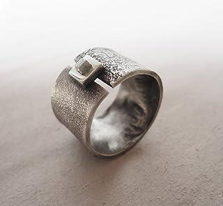 Anello in argento con diamante grezzo, diamante cubo, argento con texture, anello di diamanti, argento 925.