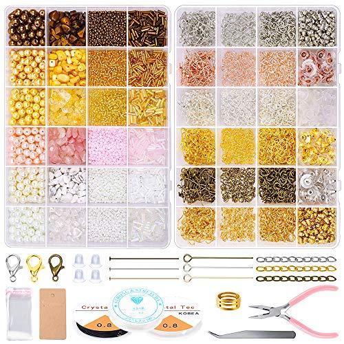 Kit para hacer aretes, Yhoiln chips de cristal, semillas de perlas con cierre de langosta, ganchos para aretes, alicates para joyería para collares, accesorios para hacer joyas y reparación