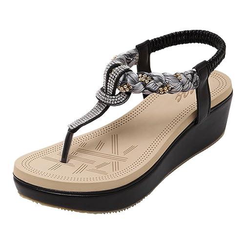 c9610940ca5f Zicac Women s Wedge Sandals Clip Toe Platform Rhinestone Elastic T-Strap  Bohemia Roman Sandals Flip