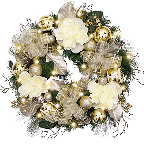 "V&M VALERY MADELYN Christmas Wreath Pre-Lit 24""Champagne Gold Artificial Greenery Spruce Wreath, Decorative Wreath with Christmas Ball Ornaments and Simulation Flowers, Battery Operated 20 LED Lights."