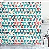 ABAKUHAUS Duschvorhang, Abstrakte Dreiecke Warme Farben Modernes Kunstwerk Kubismus Inspirierter Symmetrischer Druck, Blickdicht aus Stoff inkl. 12 Ringe für Das Badezimmer Waschbar, 175 X 200 cm