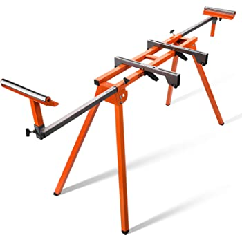 Miter Saw Stand, TACKLIFE Compact Folding Miter Saw Stand with Quick Release Mounting Brackets, Rollers, and End Stops, Orange