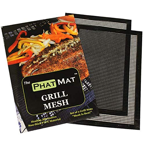 "PhatMat Non Stick Grill Mats Mesh - Set of 2 - Nonstick Heavy Duty BBQ Grilling & Baking Accessories for Traeger, Recteq, Green Mountain, Smoker - 16"" x 11"""