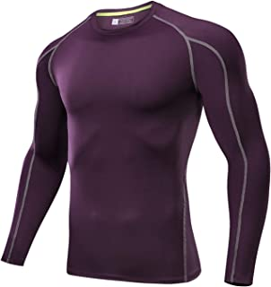 Outto Men's Running Shirts Quick Dry Compression Long Sleeve Base Layer