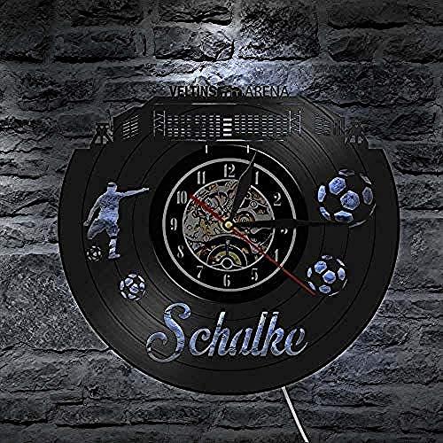 syssyj Schalke City Skyline Stille Wanduhr Bundesl auml;nder Fu szlig;Ball Stadion Fans Feiern Meister Wandkunst Schallplatte Uhr 12 Zoll