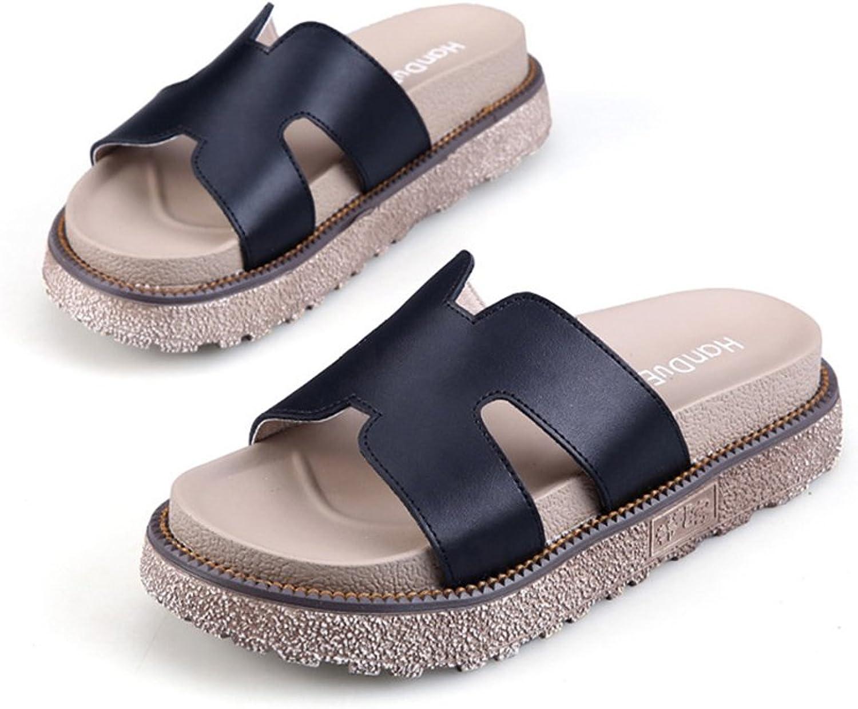 Fuoks Anti-Skid Leather Flat Ladies Slide Sandals Women Sandles