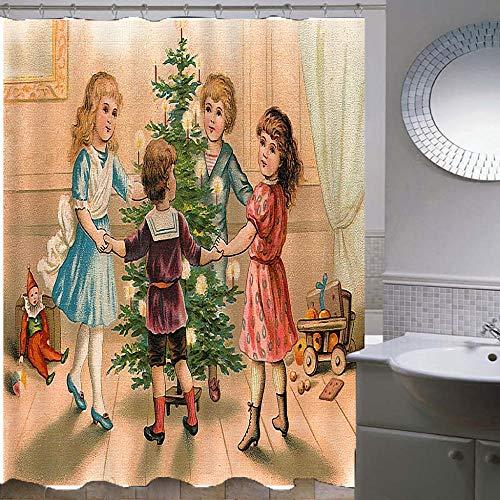 Cortinas De Ducha-Serie De Navidad 38,Impresión Digital 3D Eva Poliéster Material Impermeable Anti Molde Cortinas De Ducha,con 12 Ganchos A Prueba De Herrumbre-180X180Cm