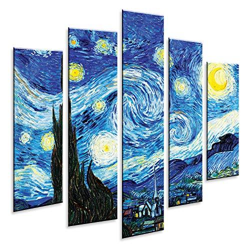Giallobus - Pintura de Paneles múltiples 5 Piezas - Vincent Van Gogh - Noche Estrellada - Impresión en forex con Efecto de Relieve - Listo para Colgar - 140x100 cm