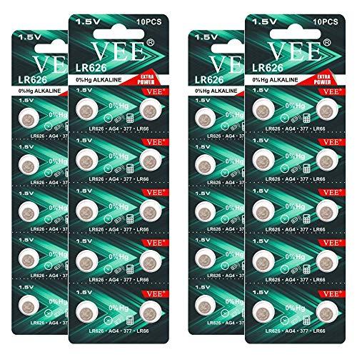 VEE LR626 Battery 377 376 AG4 Watch Battery 1.5V Alkaline Button Battery 40 Pack