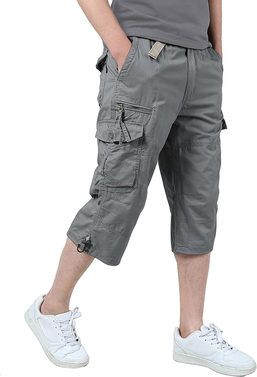 Relaude Fitness Men's 3/4 Long Cargo Shorts Loose Fit Elastic Waist Below Knee Work Tactical Shorts with Multi-Pockets