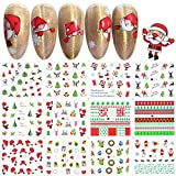 JMEOWIO Winter Series Nail Art Stickers 12pcs Christmas Nail Decals Snowflakes Snowman Star Deer Xmas Designs for Women Fingernails and Toenails Decorations (Type 8)