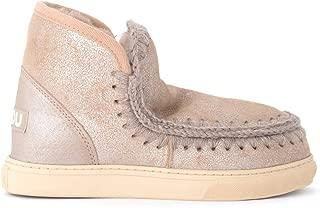 Mou Woman's Mini Eskimo Boot Sneaker in Beige Coated Leather