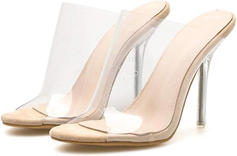 Yeenvan Cryal Open Toe Sexy Thin Heels Cryal Women Transparent Heel Sandals Slippers Pumps shoes