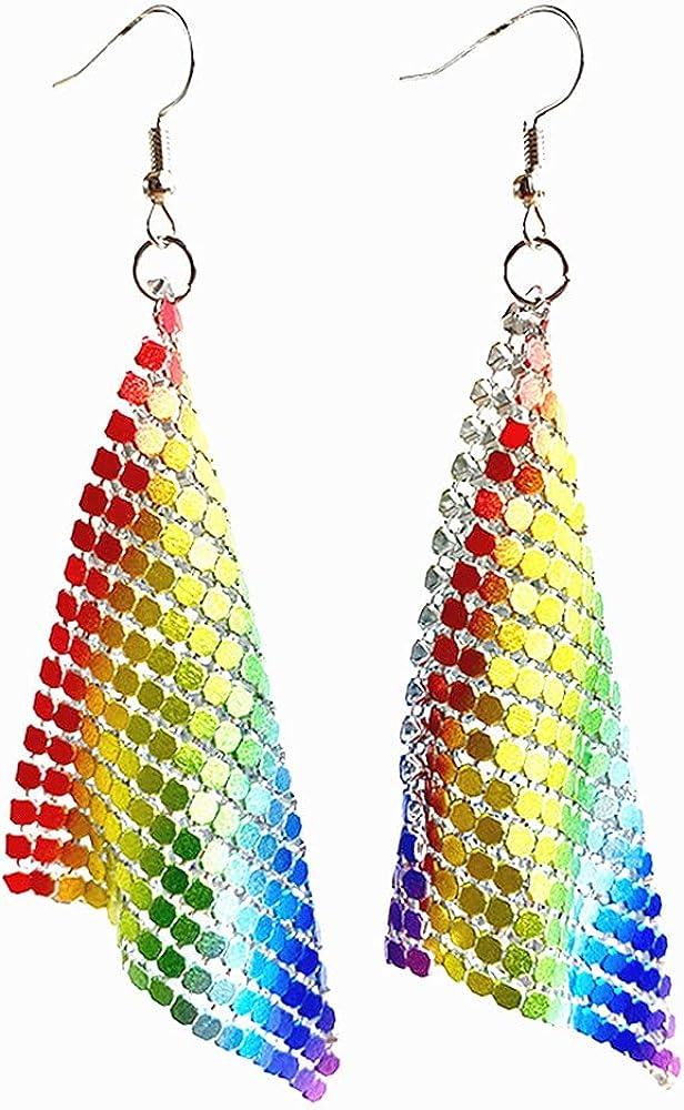 Rainbow Sequin Dangle Earrings Mesh Grid Tassel Drop Earrings Colorful Sequin Geometric Earrings for Women Night Club Party Jewelry