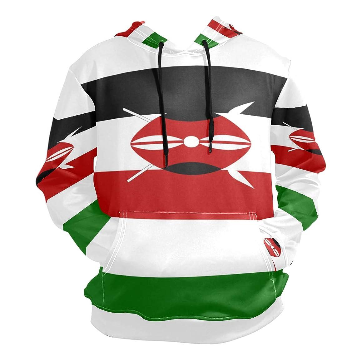 NICEOK Men's Kenya Flag Pullover Hoodie Hooded Sweatshirt Sweater Tops Jacket Outwear