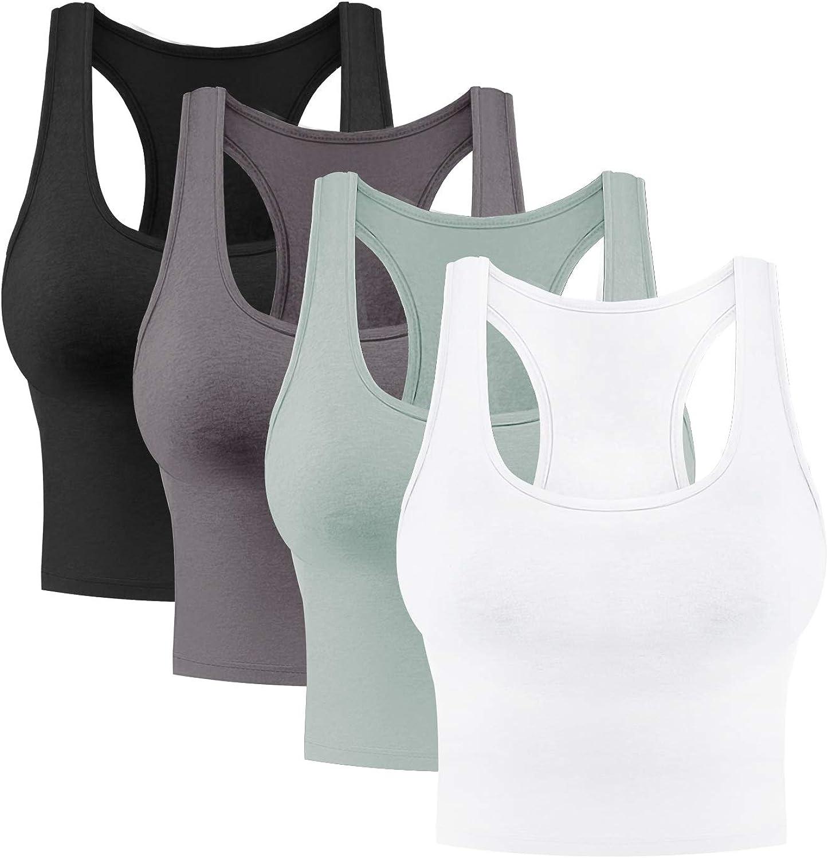 4 Pieces Women's Crop Tops Cotton Basic Tank Tops Racerback Sleeveless Sports Workout Crop Tank Tops
