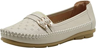 Apakowa Women's Natural Comfort Rubber Sole Slip-on Classic Casual Walking Flat Loafer