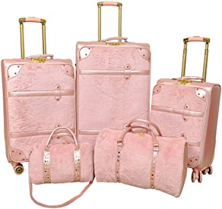Track Luggage Trolley Bags , Set of 5 Pieces , Pink