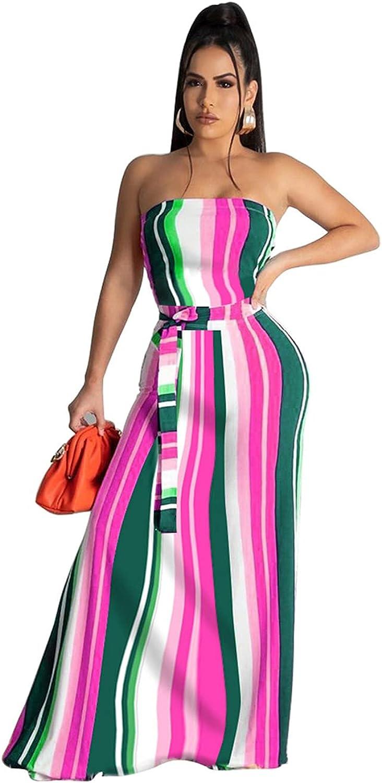 Ekaliy Women Sexy Tube Top Stripe Floral Print Bohemian Beach Dress Casual Off Shoulder Long Dress
