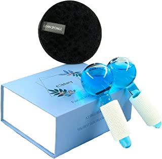 MAGIC ICE Roller Ball- Cool Globe Skin Massager 2PC Globes Facial Roller Tools with 1PC Makeup Remover Pads for Skin Treatment Reduce Puffiness