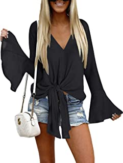 Women's V Neck Blouse Long Bell Sleeve Tops Tie Front Knot Loose Shirt
