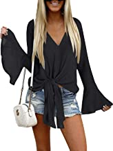 Luyeess Women's V Neck Blouse Long Bell Sleeve Tops Tie Front Knot Loose Shirt