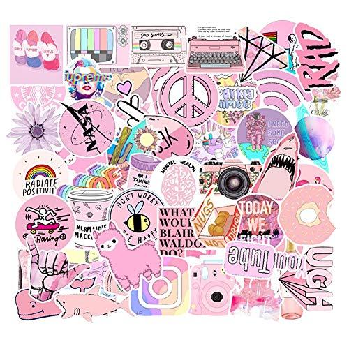 53枚 かわいい ピンク の セット コミック 防水ステッカー セットスーツケースステッカー お気に入りのスー...