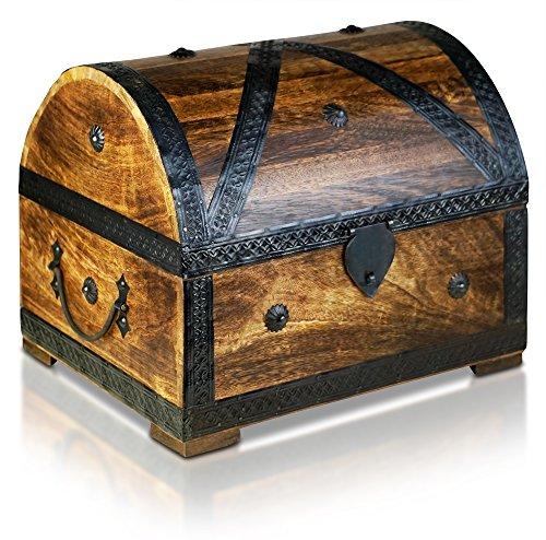 Brynnberg Schatztruhe Koffertruhe Holztruhe Schatzkiste Vintage-Look Piraten Schatzsuche Holz massiv braun Kolonialstil Schatulle Bauernkasse Holz Piratentruhe Geldtruhe (Pirat XL 32x25x25cm)
