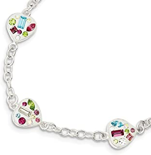 ICE CARATS 925 Sterling Silver Stellux Multi Color Crystal Heart Bracelet 7.5 Inch/love Fine Jewelry Gifts For Women